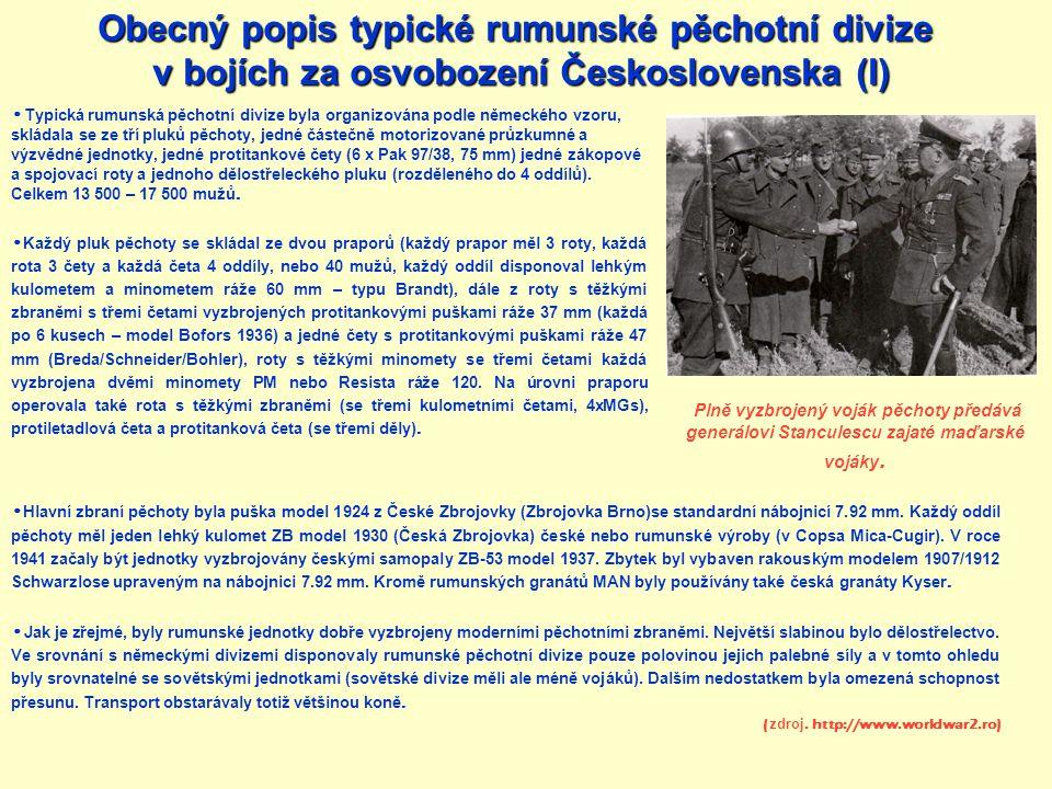 Obecný popis typické rumunské pěchotní divize