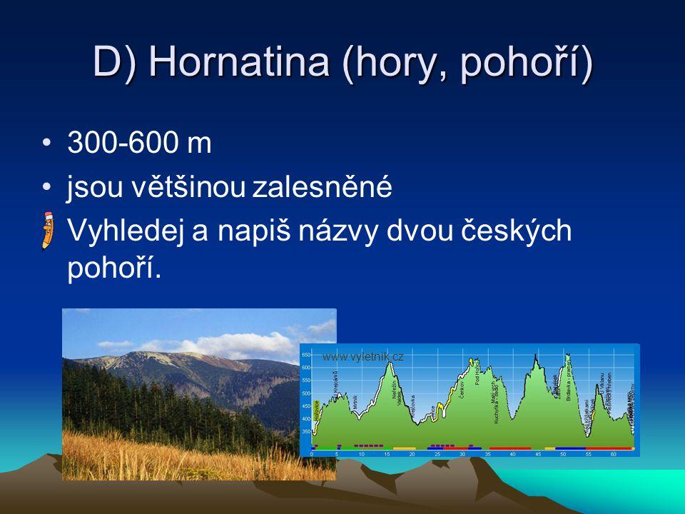 D) Hornatina (hory, pohoří)