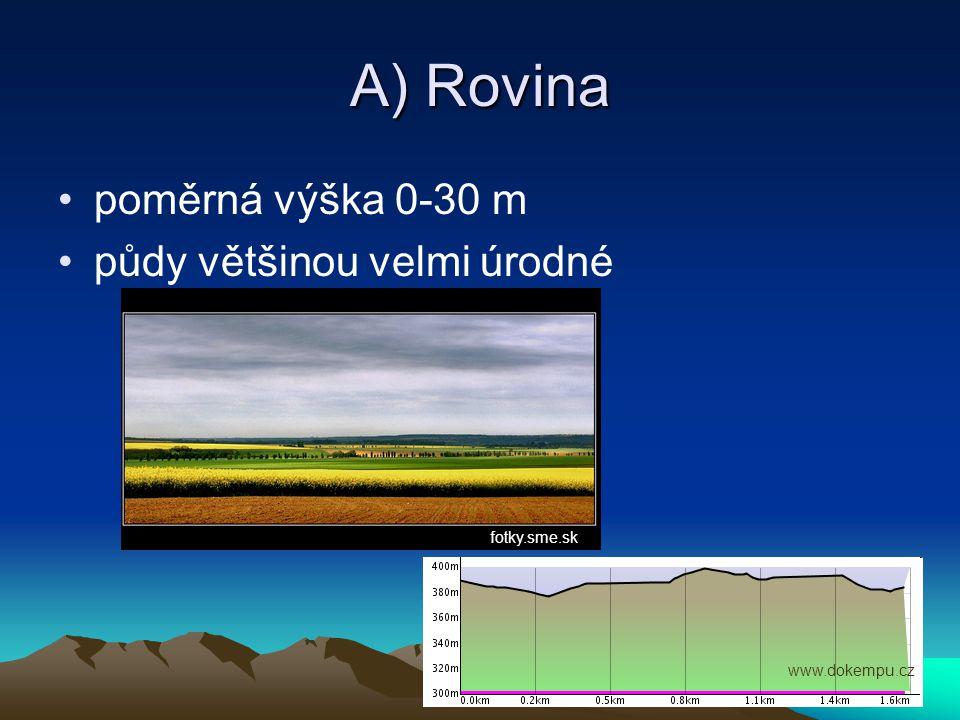 A) Rovina poměrná výška 0-30 m půdy většinou velmi úrodné fotky.sme.sk