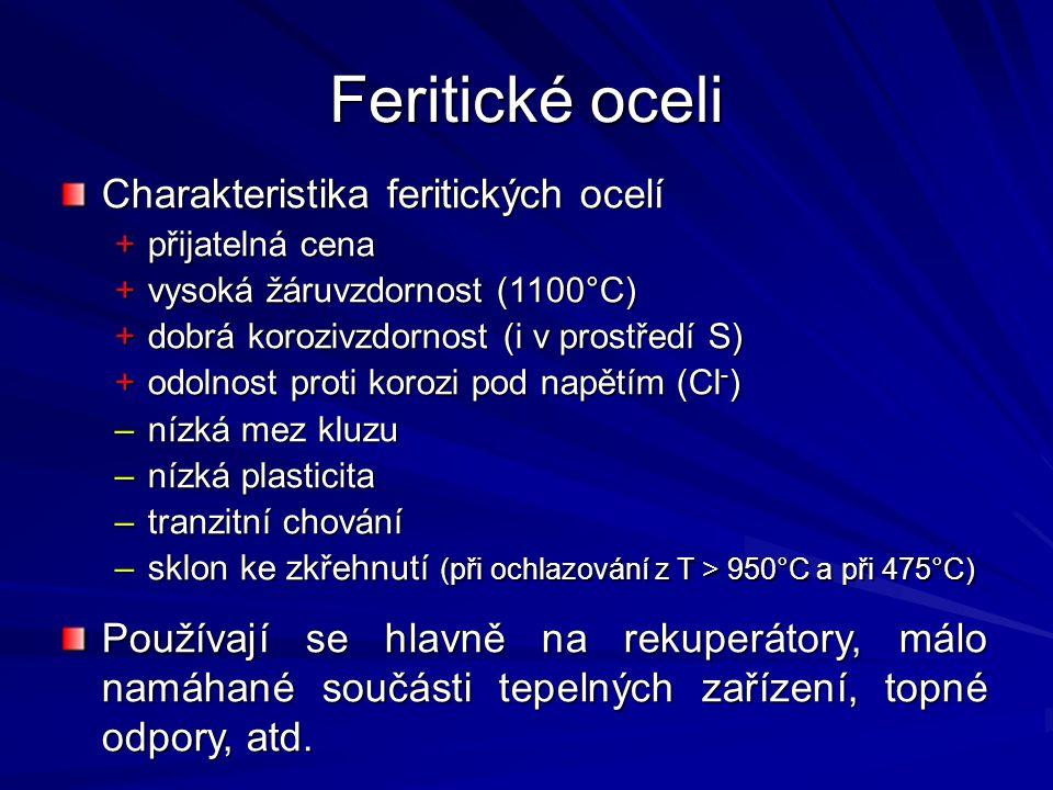 Feritické oceli Charakteristika feritických ocelí