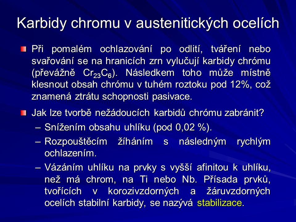 Karbidy chromu v austenitických ocelích