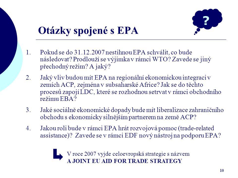 Otázky spojené s EPA