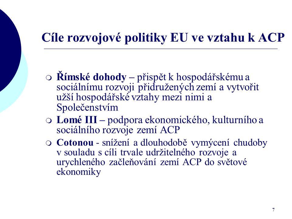 Cíle rozvojové politiky EU ve vztahu k ACP