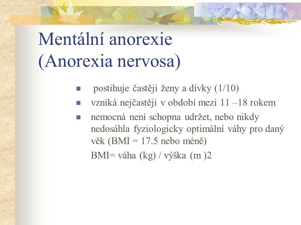 Mentální anorexie (Anorexia nervosa)