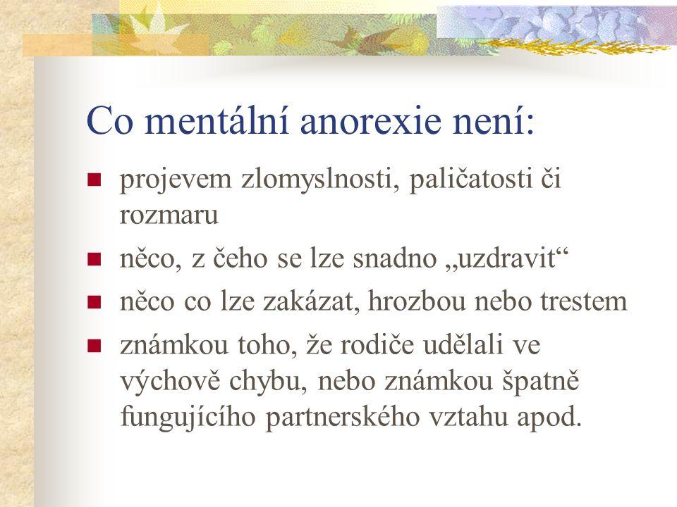 Co mentální anorexie není: