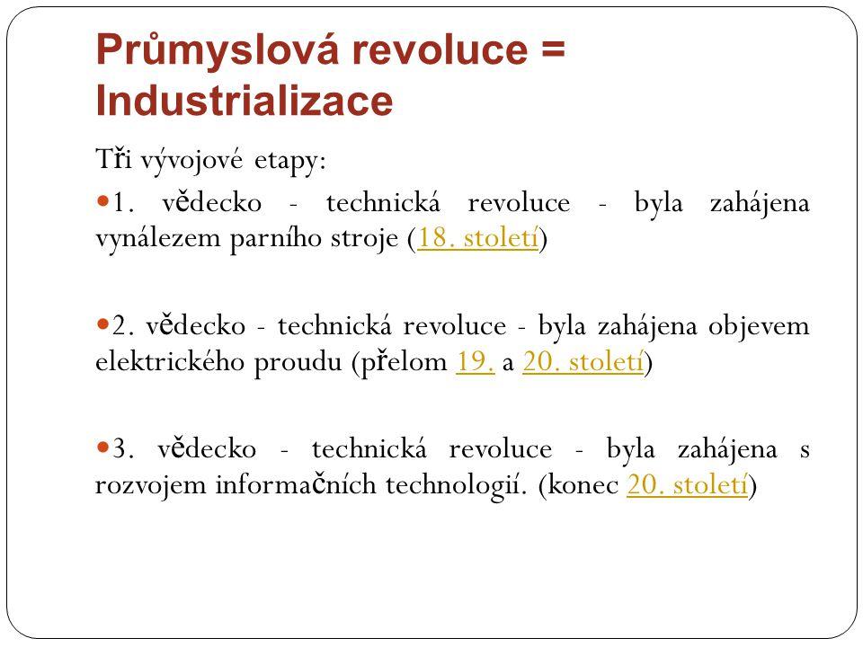 Průmyslová revoluce = Industrializace