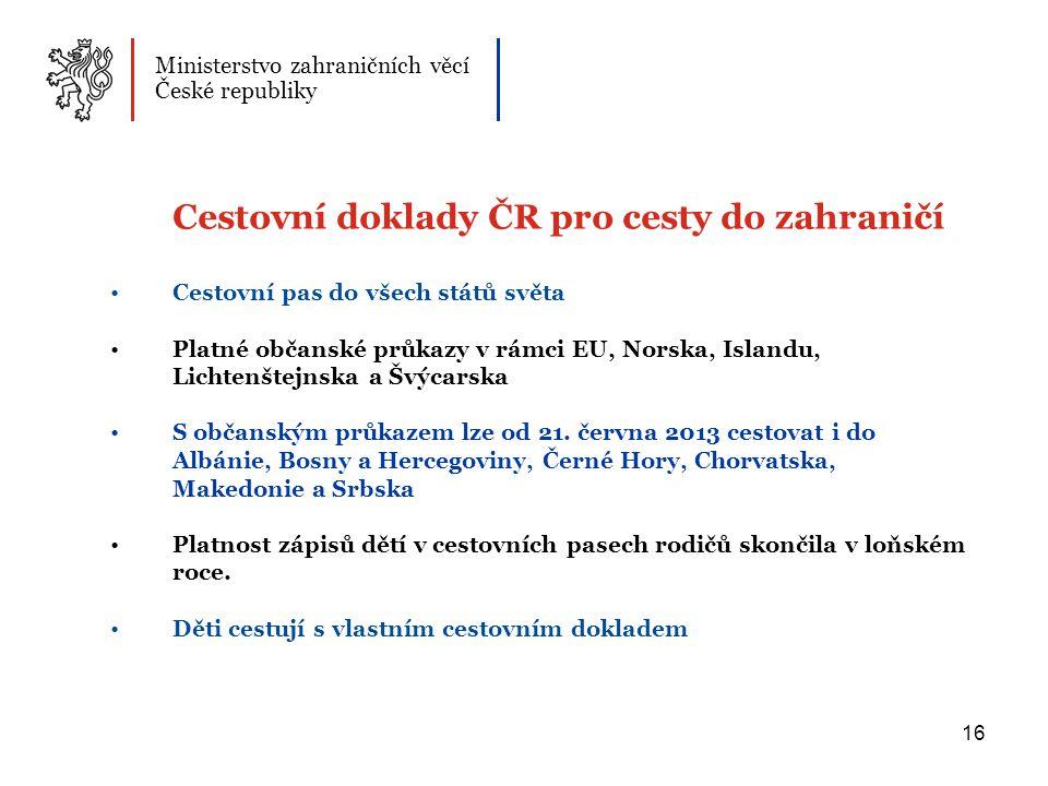 Cestovní doklady ČR pro cesty do zahraničí