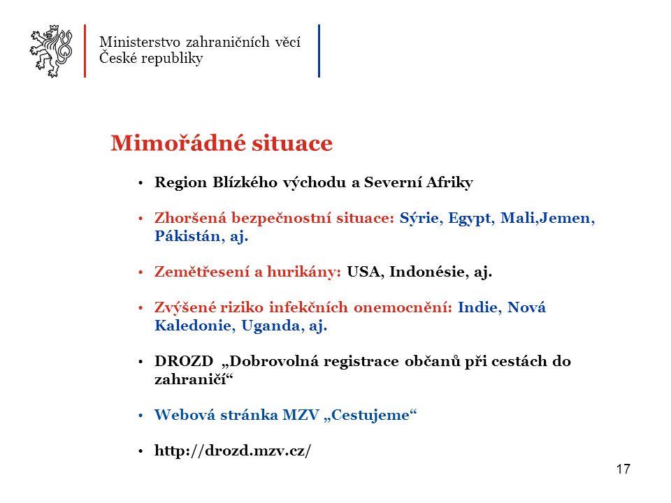 Mimořádné situace Ministerstvo zahraničních věcí České republiky