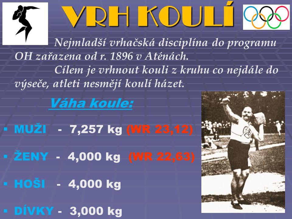 VRH KOULÍ Nejmladší vrhačská disciplína do programu OH zařazena od r. 1896 v Aténách.