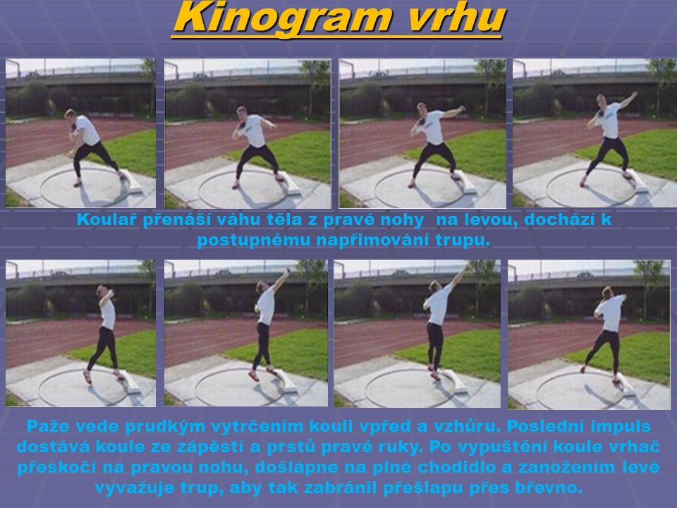 Kinogram vrhu Koulař přenáší váhu těla z pravé nohy na levou, dochází k postupnému napřimování trupu.