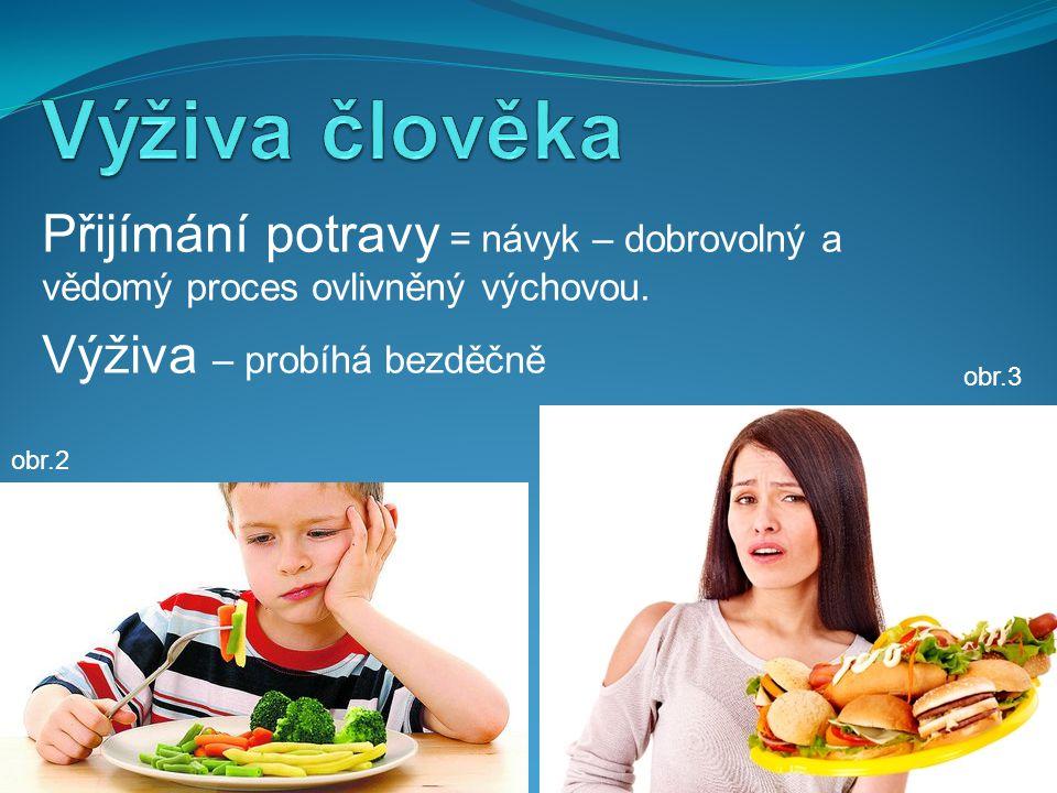 Výživa člověka Přijímání potravy = návyk – dobrovolný a vědomý proces ovlivněný výchovou. Výživa – probíhá bezděčně.