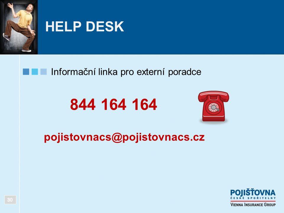 HELP DESK Informační linka pro externí poradce 844 164 164