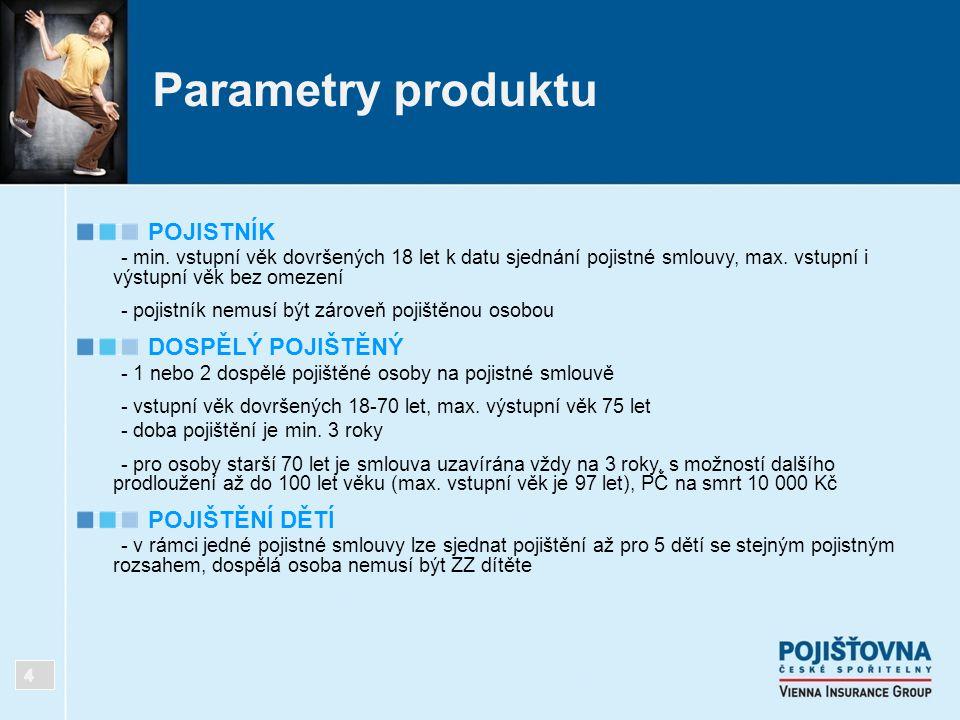 Parametry produktu POJISTNÍK DOSPĚLÝ POJIŠTĚNÝ POJIŠTĚNÍ DĚTÍ