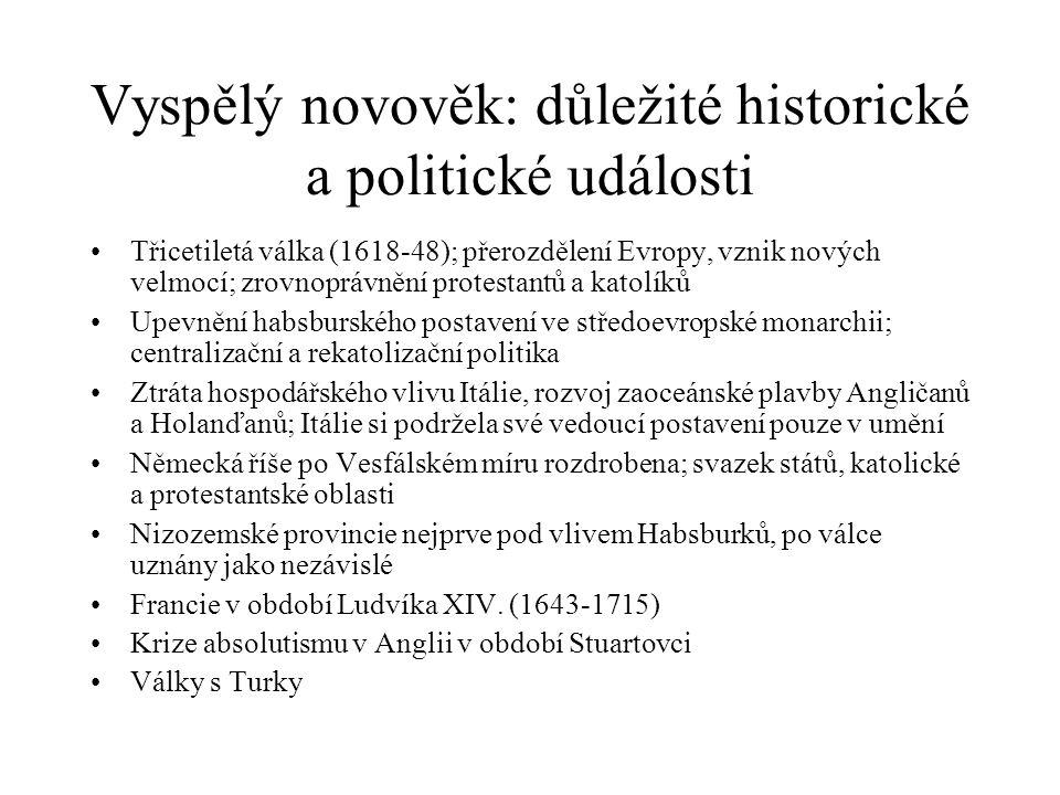 Vyspělý novověk: důležité historické a politické události