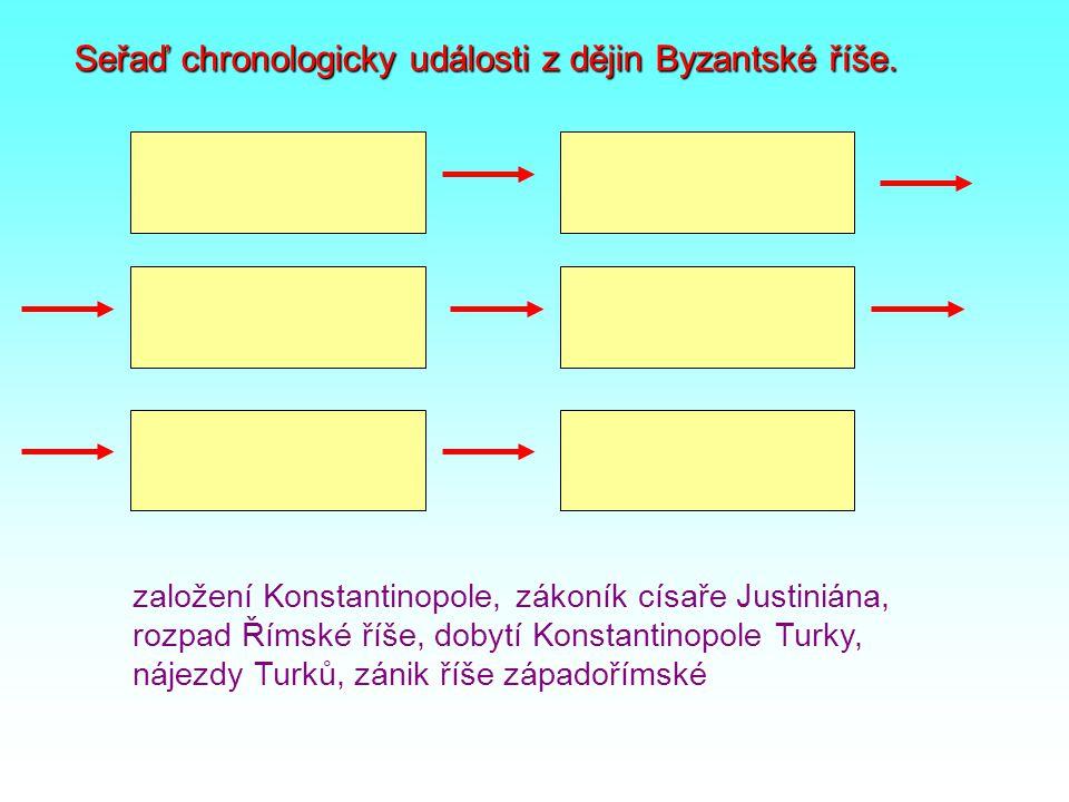 Seřaď chronologicky události z dějin Byzantské říše.