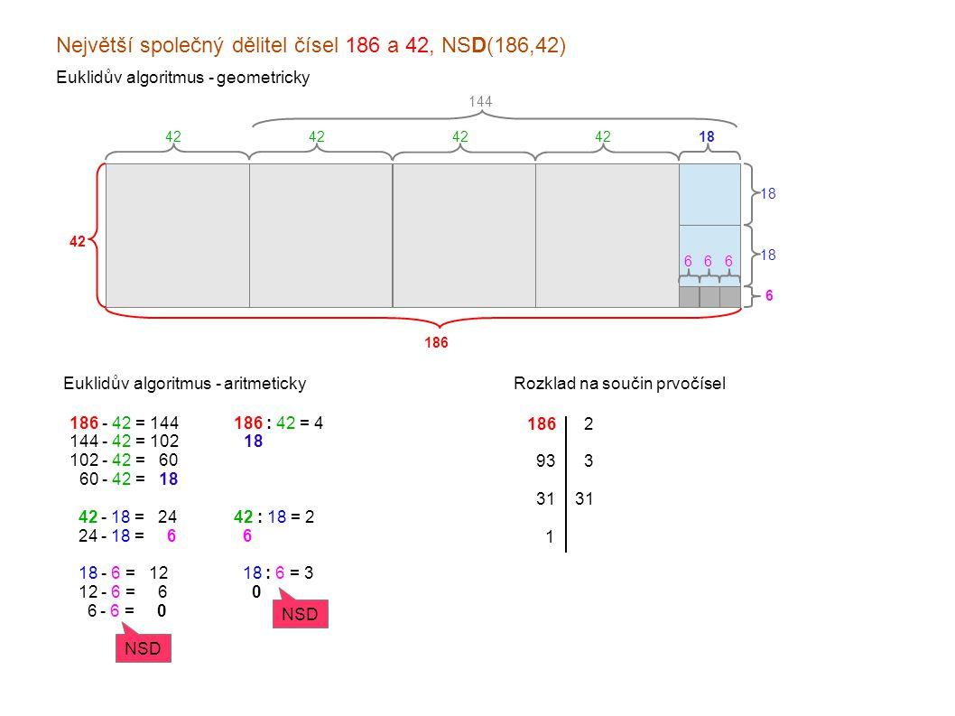Největší společný dělitel čísel 186 a 42, NSD(186,42)