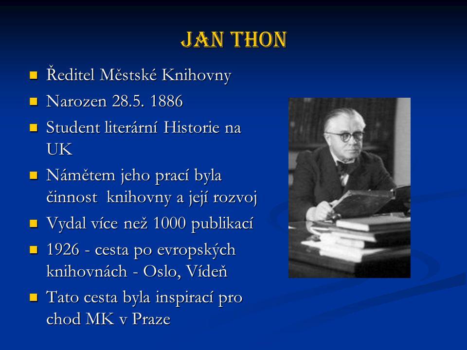 Jan Thon Ředitel Městské Knihovny Narozen 28.5. 1886