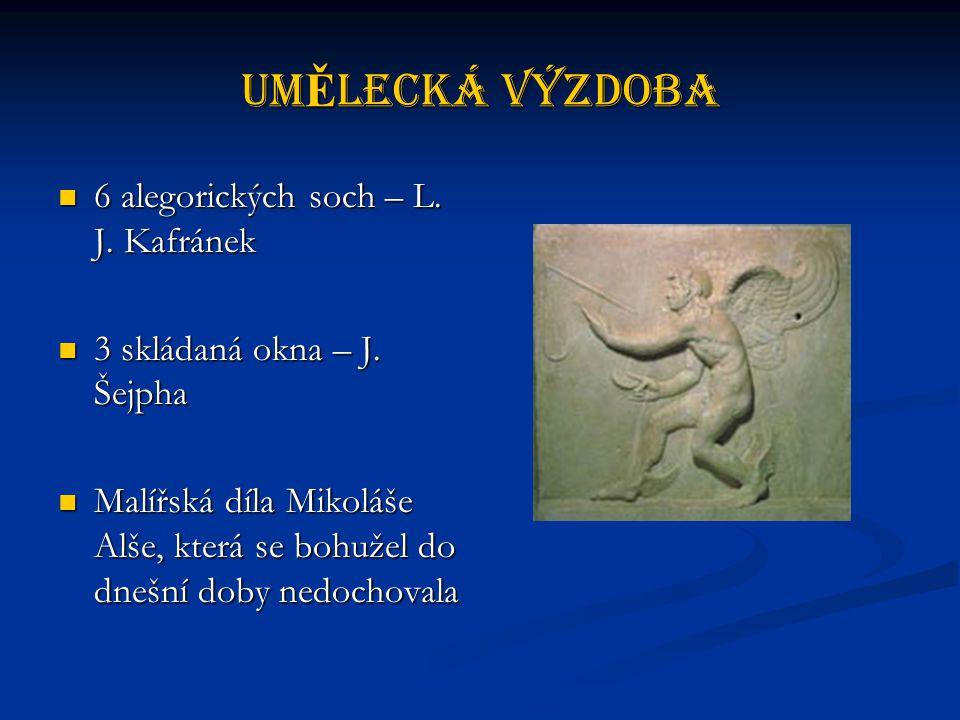 UmĚlecká výzdoba 6 alegorických soch – L. J. Kafránek