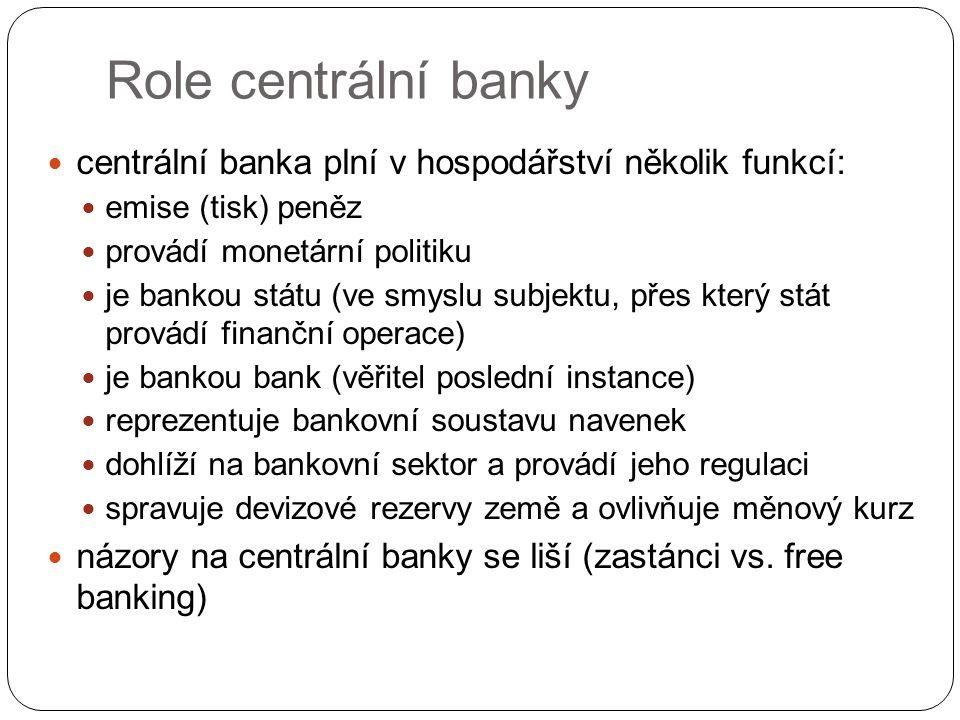 Role centrální banky centrální banka plní v hospodářství několik funkcí: emise (tisk) peněz. provádí monetární politiku.