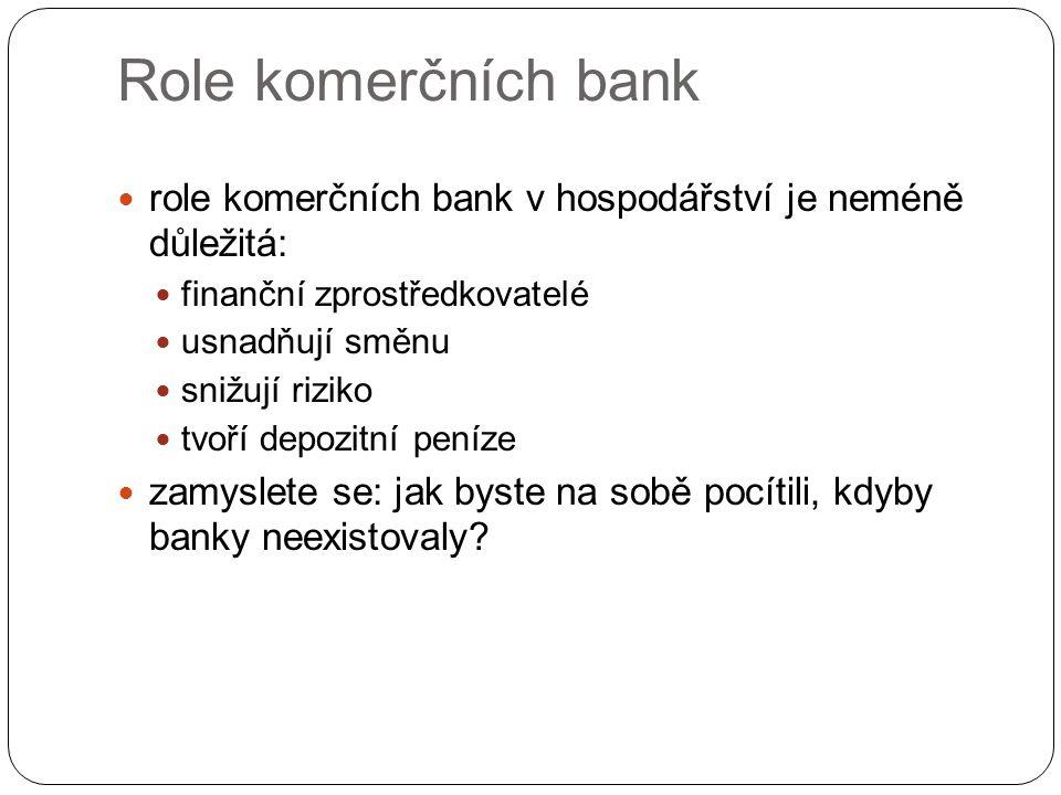 Role komerčních bank role komerčních bank v hospodářství je neméně důležitá: finanční zprostředkovatelé.