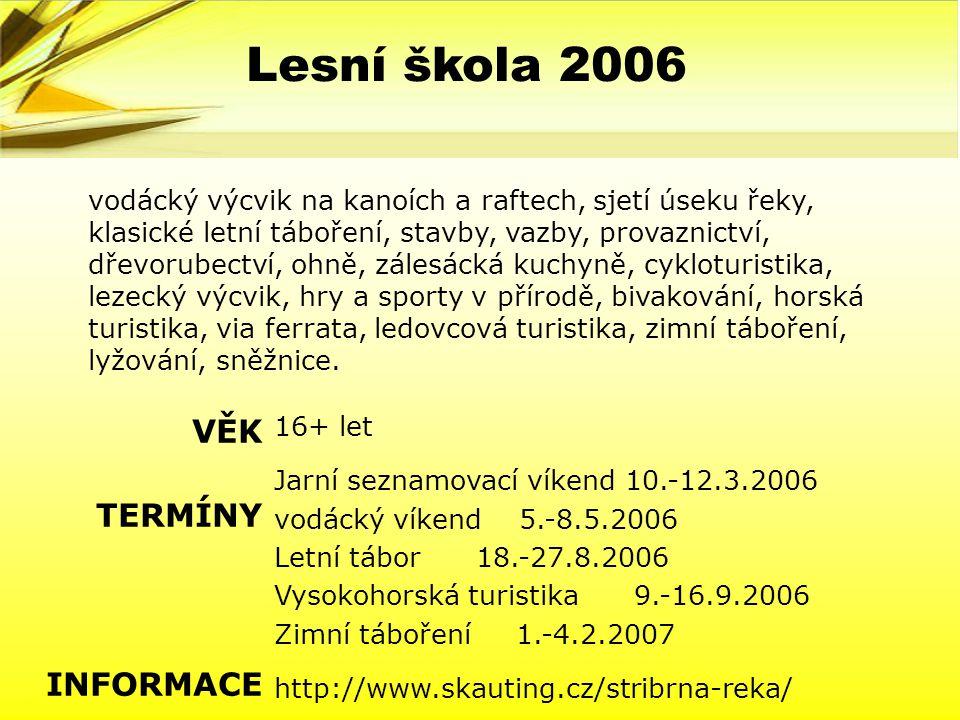 Lesní škola 2006 VĚK TERMÍNY INFORMACE