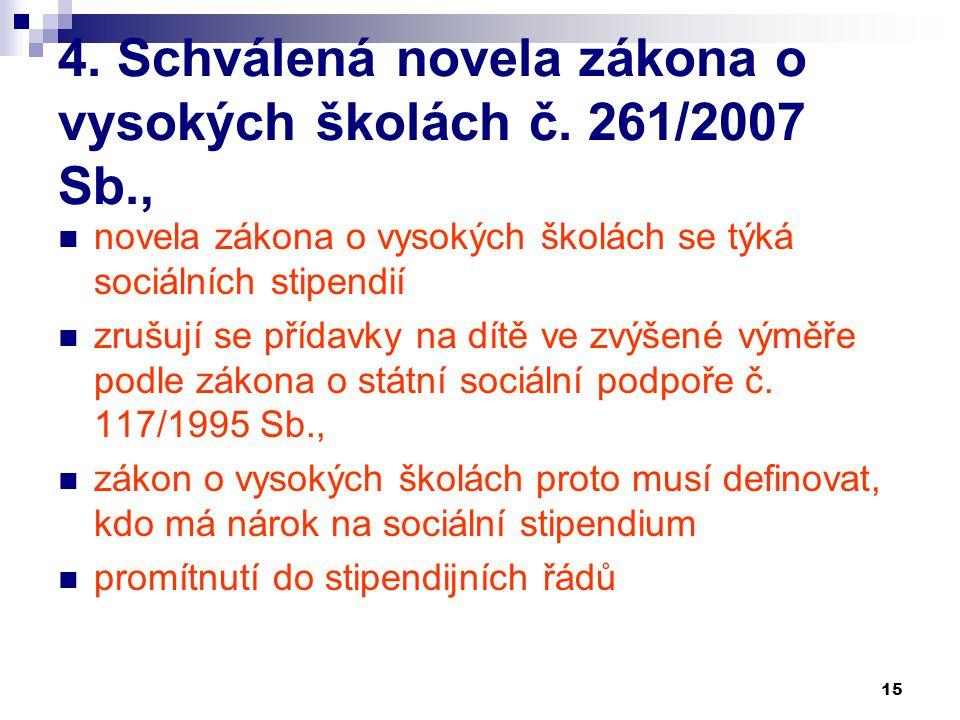 4. Schválená novela zákona o vysokých školách č. 261/2007 Sb.,