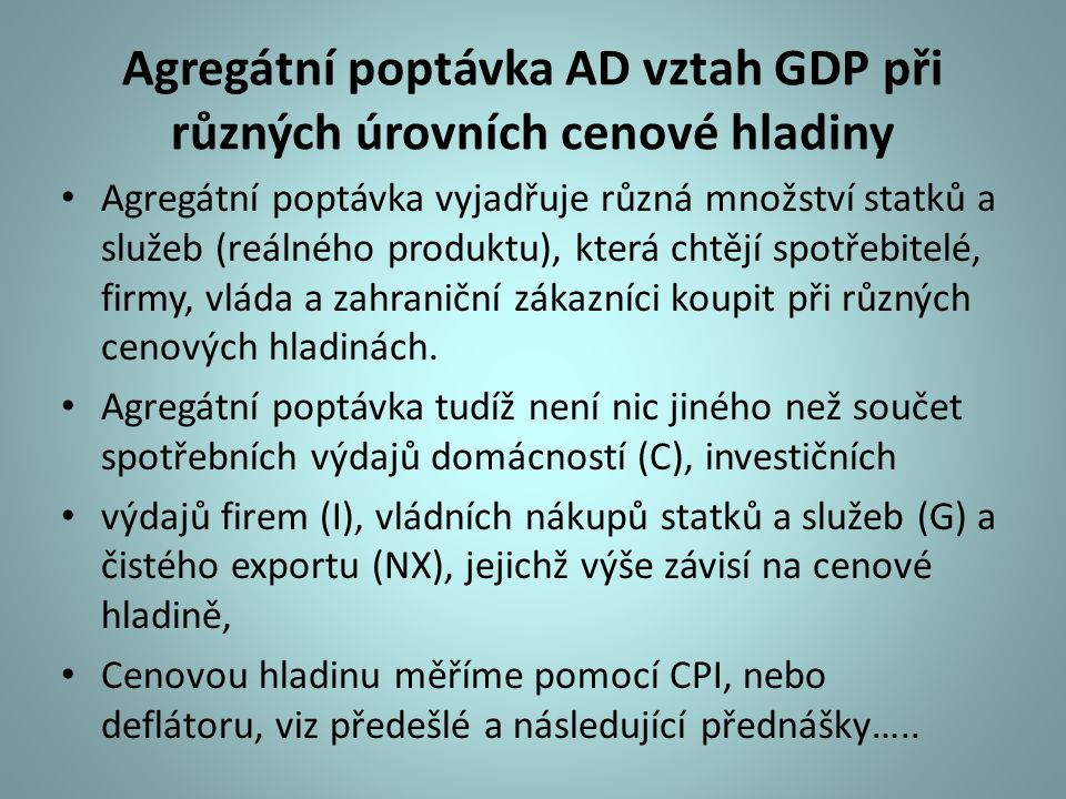 Agregátní poptávka AD vztah GDP při různých úrovních cenové hladiny