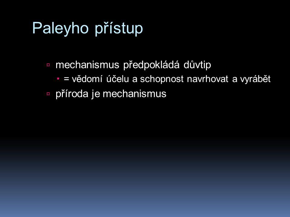 Paleyho přístup mechanismus předpokládá důvtip příroda je mechanismus
