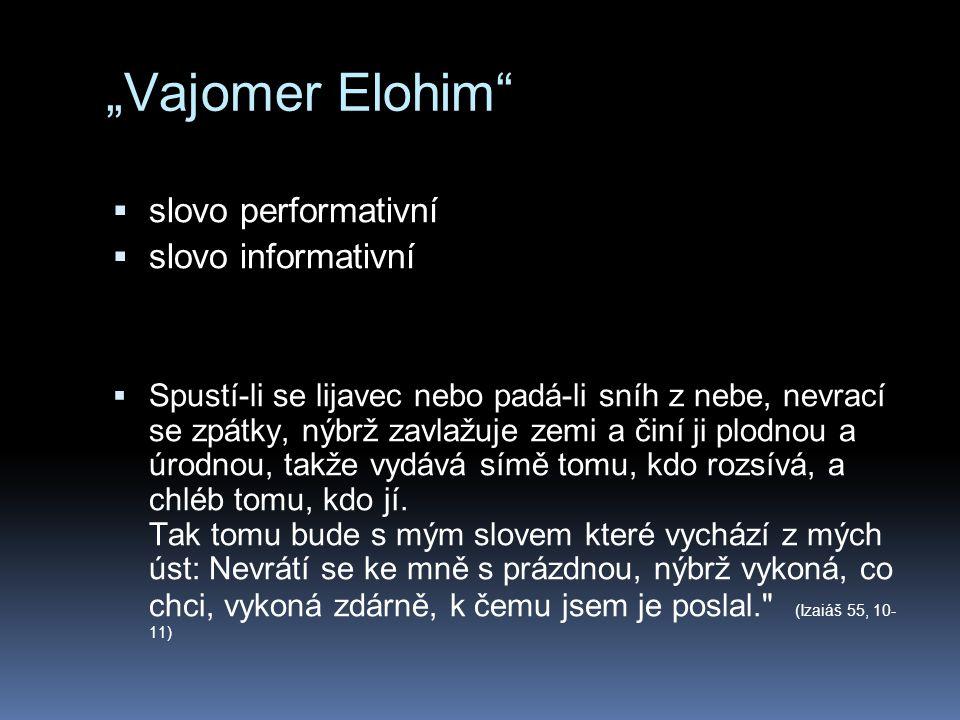 """""""Vajomer Elohim slovo performativní slovo informativní"""