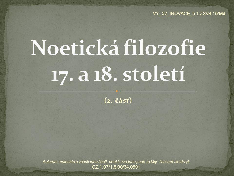 Noetická filozofie 17. a 18. století