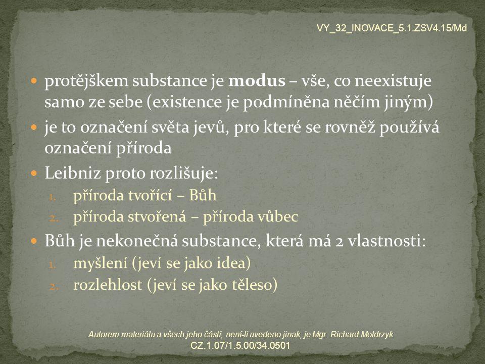 Leibniz proto rozlišuje: