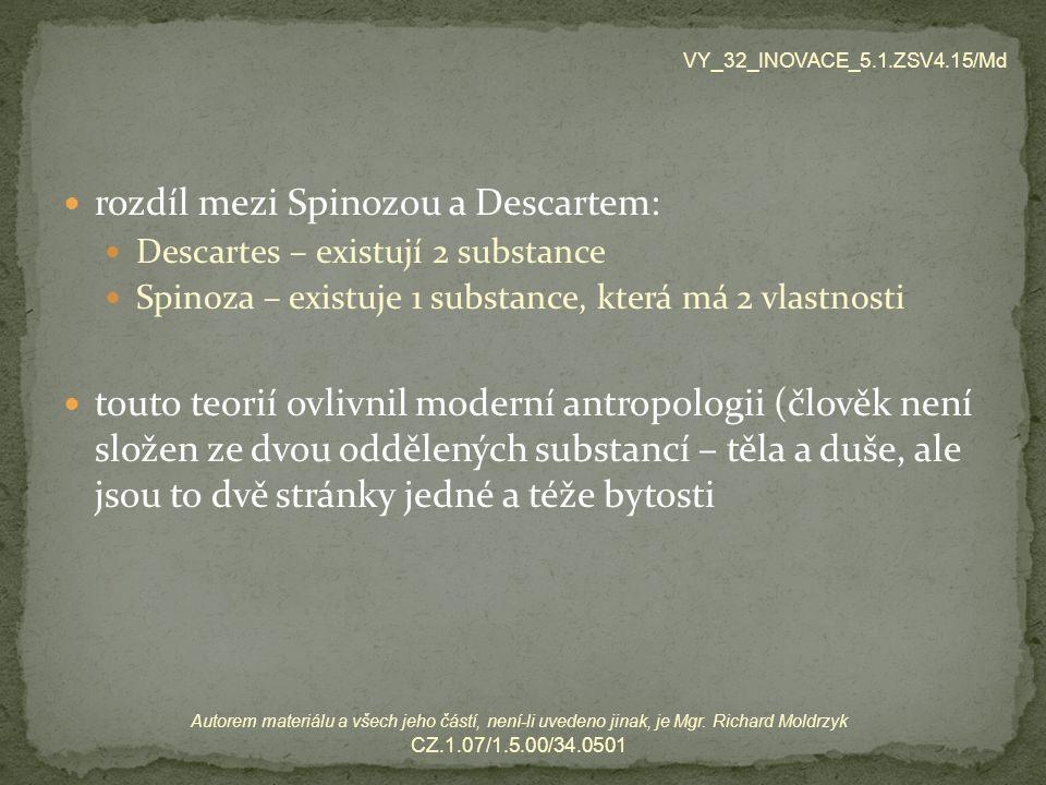 rozdíl mezi Spinozou a Descartem: