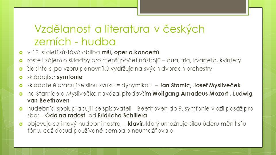 Vzdělanost a literatura v českých zemích - hudba