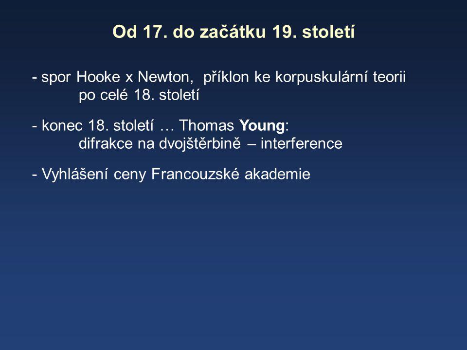 Od 17. do začátku 19. století - spor Hooke x Newton, příklon ke korpuskulární teorii po celé 18. století.