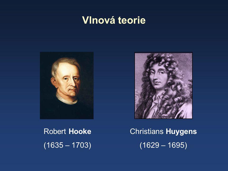 Vlnová teorie Robert Hooke (1635 – 1703) Christians Huygens