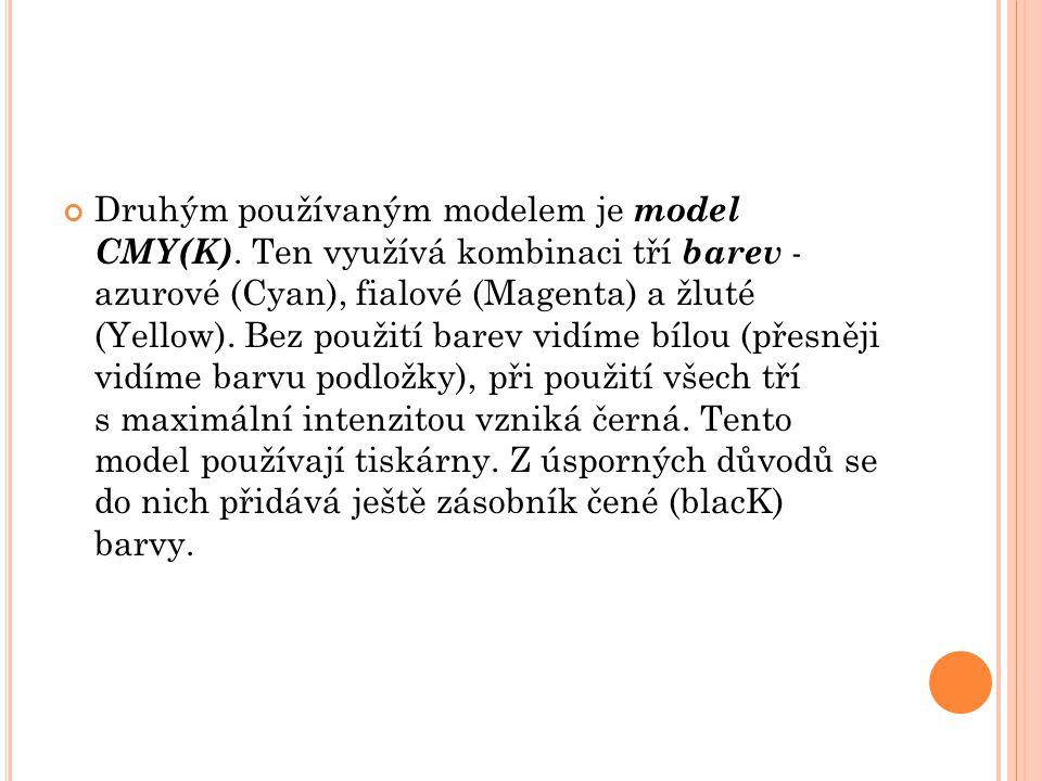 Druhým používaným modelem je model CMY(K)