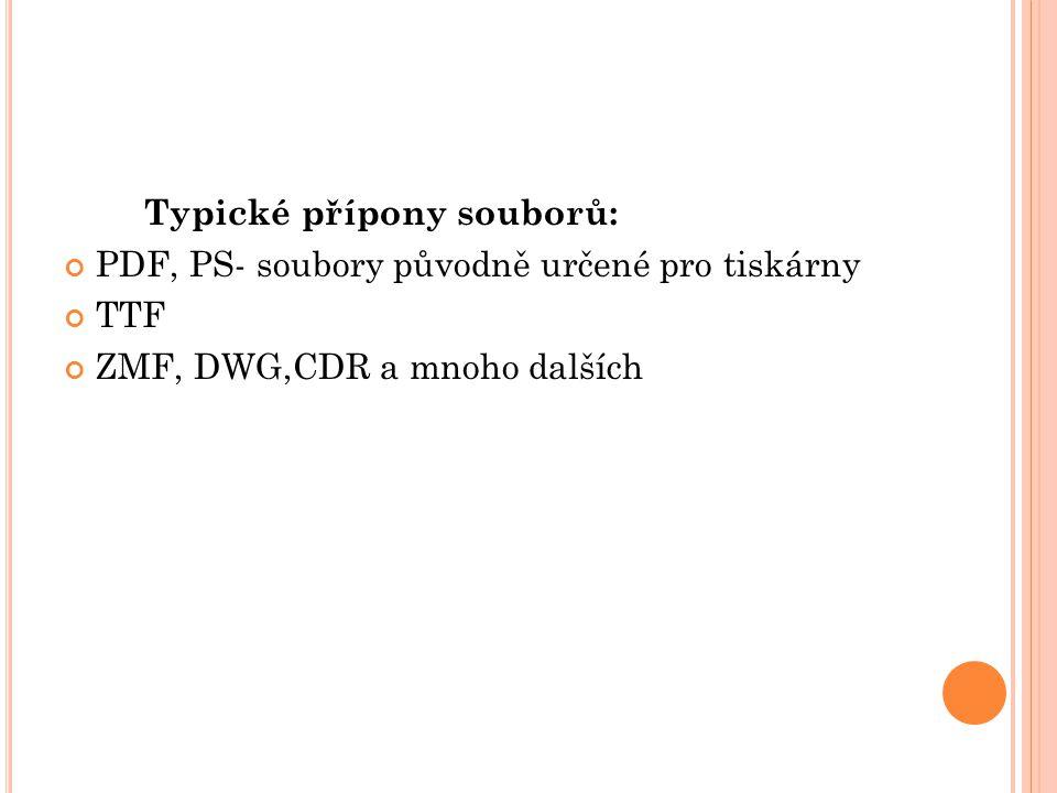 Typické přípony souborů: