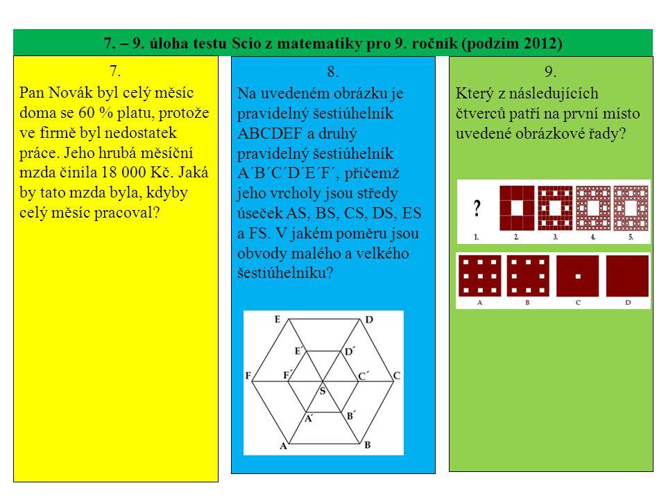 7. – 9. úloha testu Scio z matematiky pro 9. ročník (podzim 2012)
