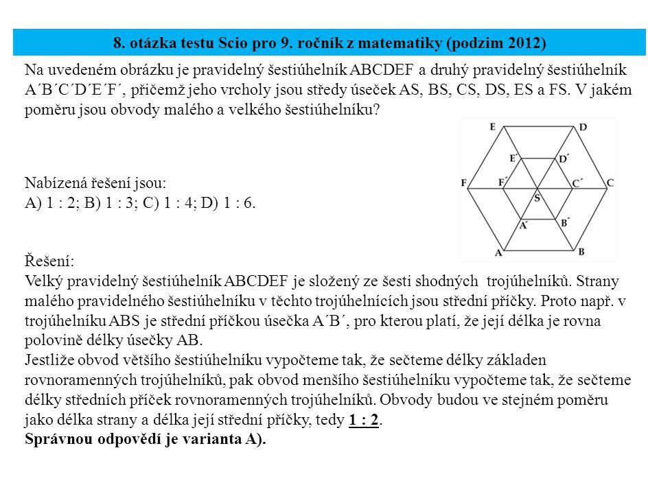 8. otázka testu Scio pro 9. ročník z matematiky (podzim 2012)