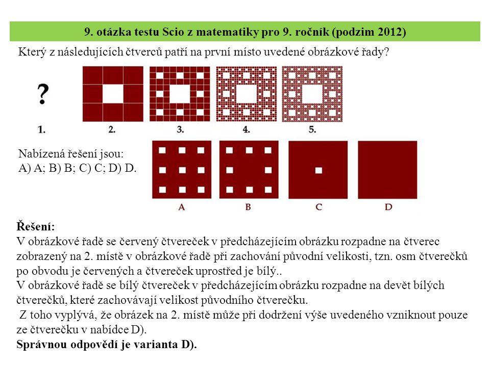 9. otázka testu Scio z matematiky pro 9. ročník (podzim 2012)