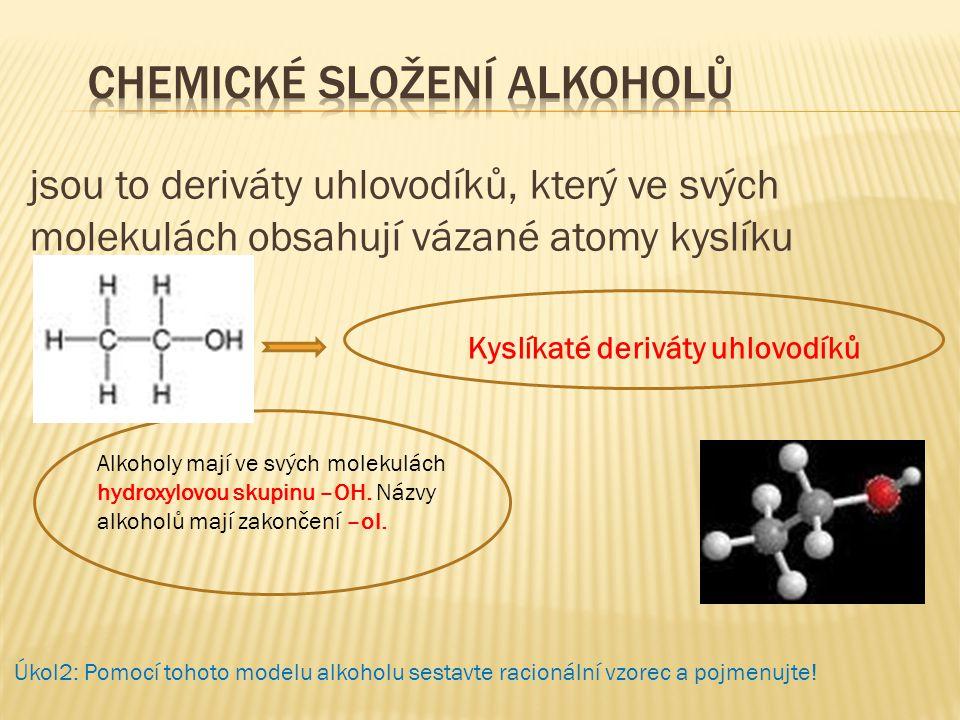 Chemické složení alkoholů