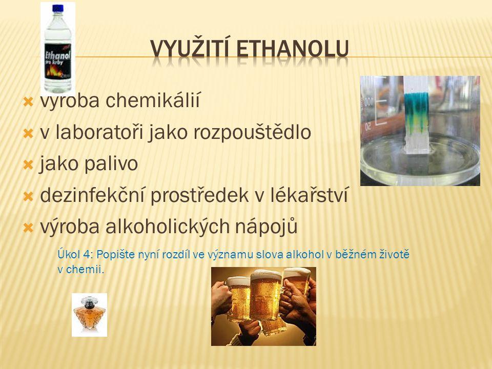 Využití ethanolu výroba chemikálií v laboratoři jako rozpouštědlo