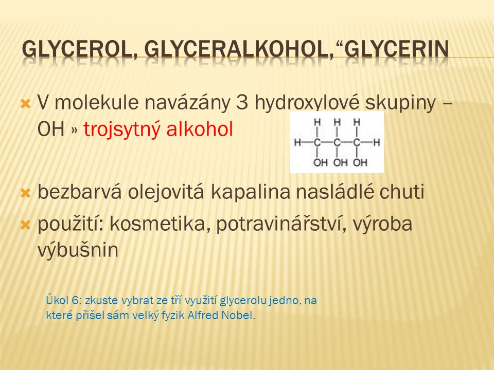Glycerol, glyceralkohol, glycerin
