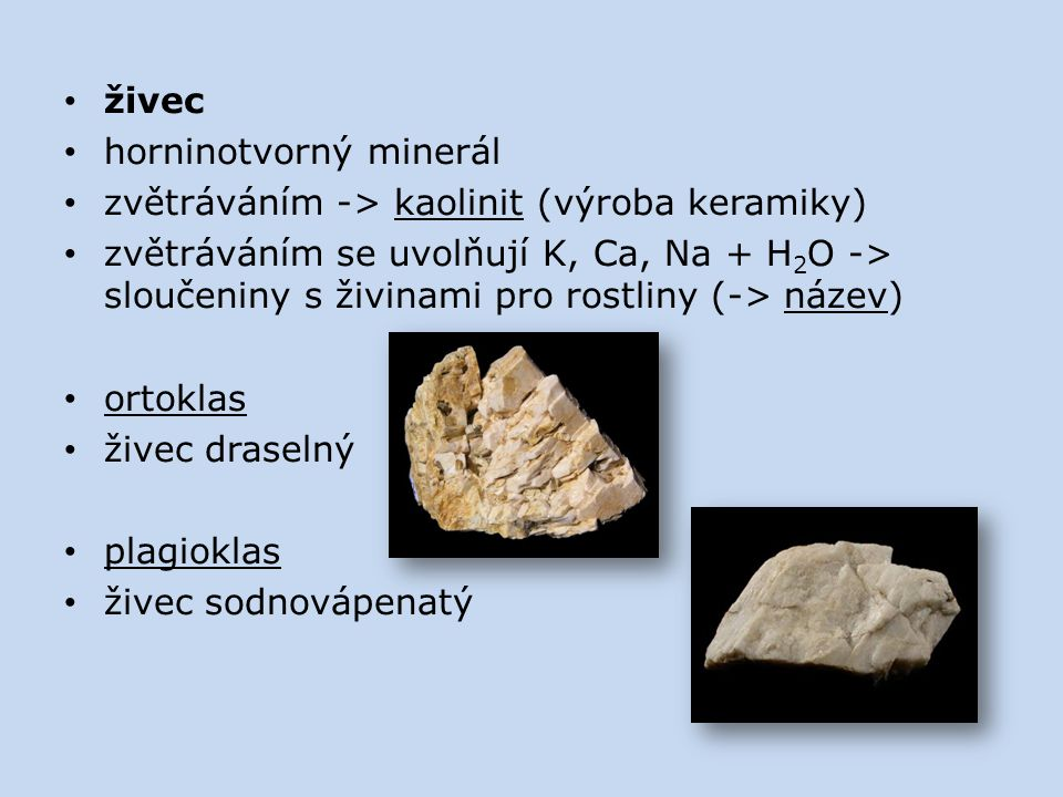 živec horninotvorný minerál. zvětráváním -> kaolinit (výroba keramiky)