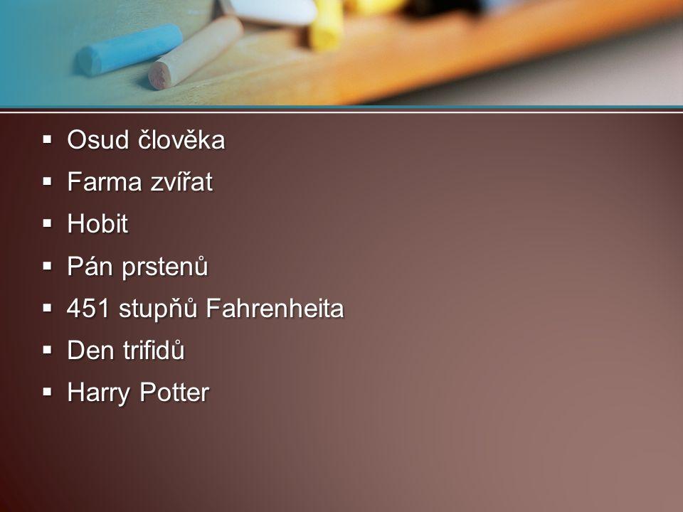 Osud člověka Farma zvířat Hobit Pán prstenů 451 stupňů Fahrenheita Den trifidů Harry Potter