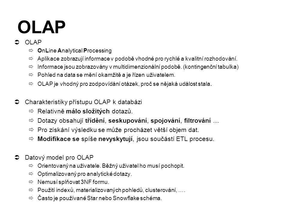 OLAP OLAP Charakteristiky přístupu OLAP k databázi