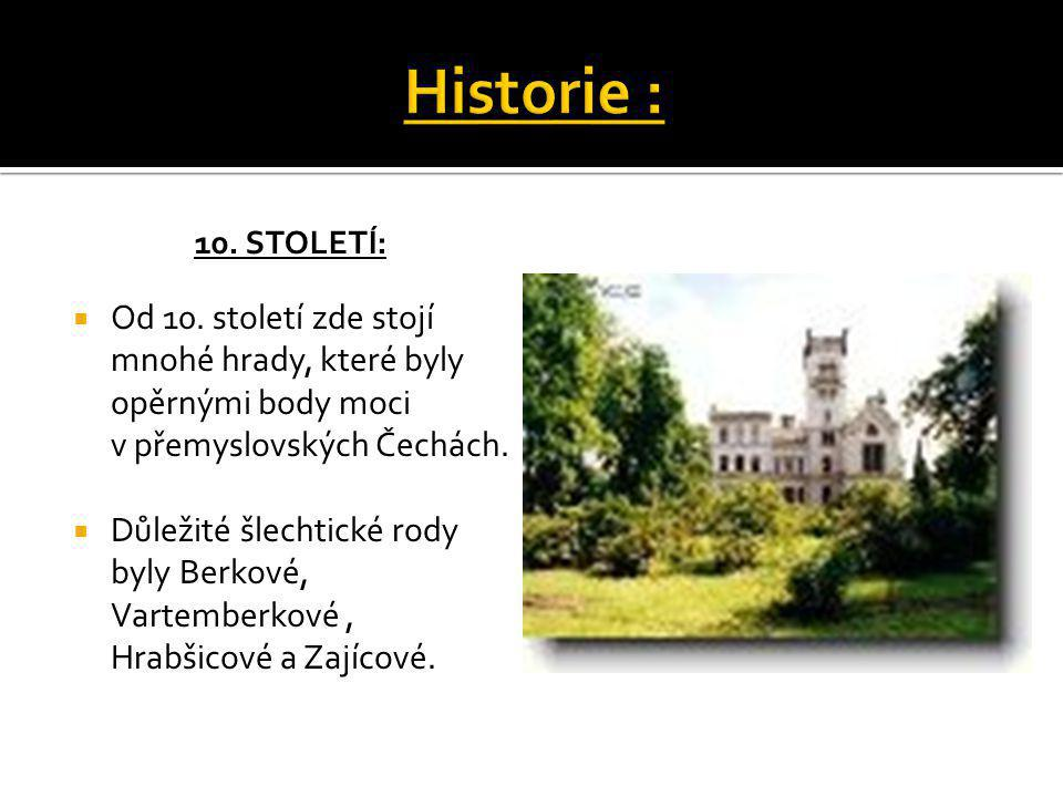 Historie : 10. století: Od 10. století zde stojí mnohé hrady, které byly opěrnými body moci v přemyslovských Čechách.