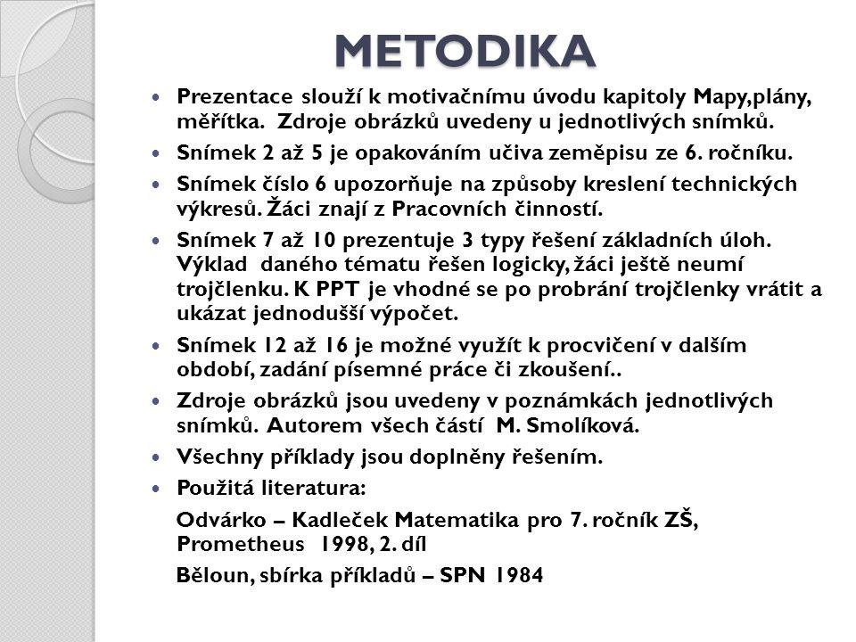 METODIKA Prezentace slouží k motivačnímu úvodu kapitoly Mapy,plány, měřítka. Zdroje obrázků uvedeny u jednotlivých snímků.