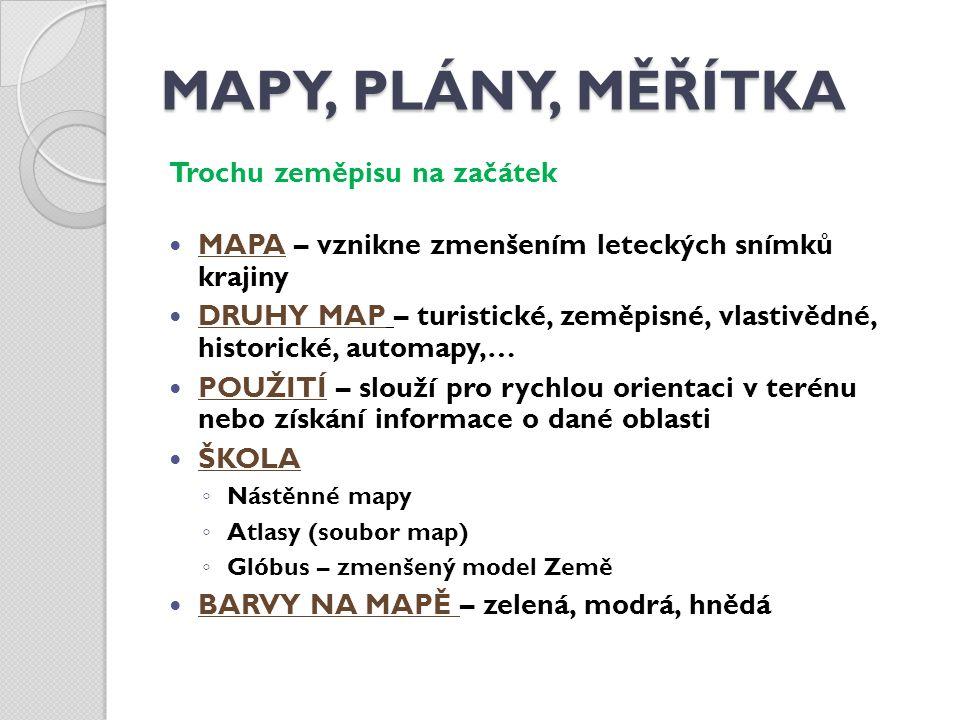 MAPY, PLÁNY, MĚŘÍTKA Trochu zeměpisu na začátek