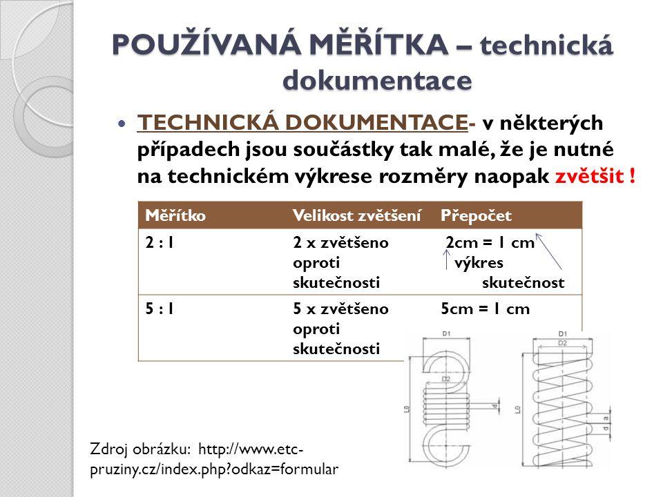 POUŽÍVANÁ MĚŘÍTKA – technická dokumentace